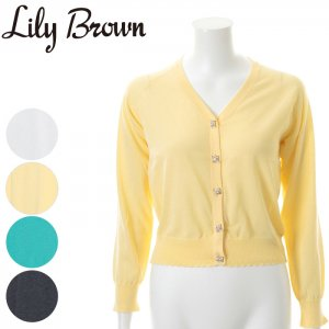 LILYBROWN リリーブラウン ビジューニットカーディガン LWNT161110 【16SS1】【SALE】【50%OFF】<img class='new_mark_img2' src='https://img.shop-pro.jp/img/new/icons20.gif' style='border:none;display:inline;margin:0px;padding:0px;width:auto;' />