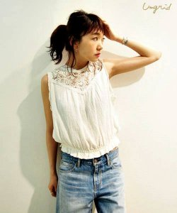 UNGRID アングリッド 【Lady like】バックオープンレースブラウス 111620413601 【16SS2】【SALE】【20%OFF】<img class='new_mark_img2' src='//img.shop-pro.jp/img/new/icons20.gif' style='border:none;display:inline;margin:0px;padding:0px;width:auto;' />