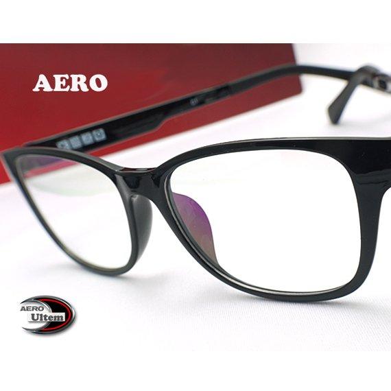 【メガネ通販】エアロウルテム AERO eyewear Black ウェリントン 注目の新素材ULTEM 超タフ・超軽量《今だけ送料無料》