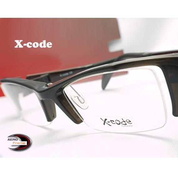 【メガネ通販】X-Code Eyewear エアロフレーム D.Gray 超弾力性新素材 ハーフリム眼鏡  《今だけ送料無料》
