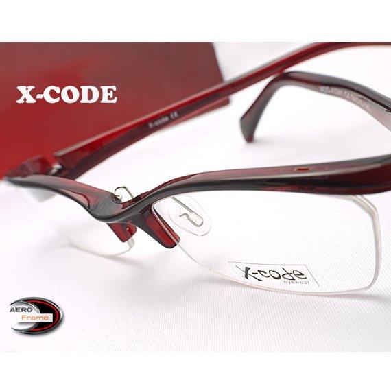 【メガネ通販】X-Code Eyewear エアロフレーム WineRed 超弾力性新素材 ハーフリム眼鏡  《今だけ送料無料》