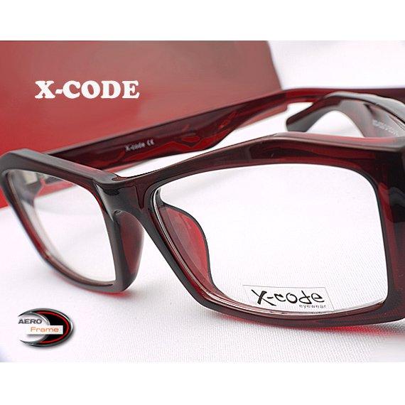 【メガネ通販】X-Code Eyewear エアロフレーム WineRed 超弾力性新素材 スクエアウェリントン眼鏡  《今だけ送料無…