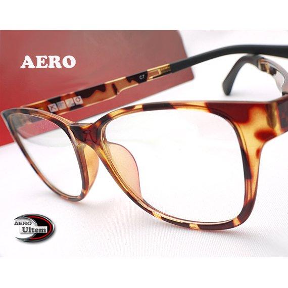 【メガネ通販】エアロウルテム AERO eyewear 茶デミ ウェリントン 注目の新素材ULTEM 超タフ・超軽量《今だけ送料無料》