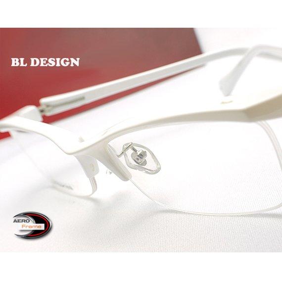 【メガネ通販】BL-Design エアロフレーム White 超弾力性新素材 ハーフリム眼鏡  《今だけ送料無料》