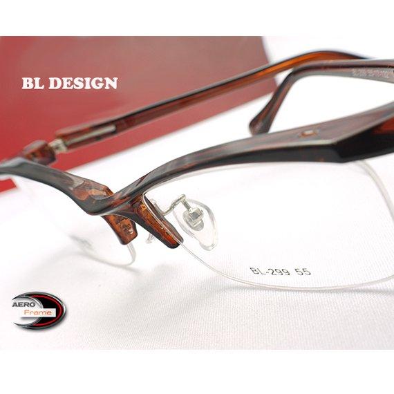 【メガネ通販】BL-Design エアロフレーム Brown 超弾力性新素材 ハーフリム眼鏡  《今だけ送料無料》