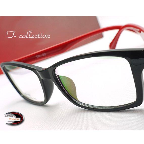 【メガネ通販】T-Collection エアロフレーム Black×Red 超弾力性新素材 フルリム眼鏡  《今だけ送料無料》