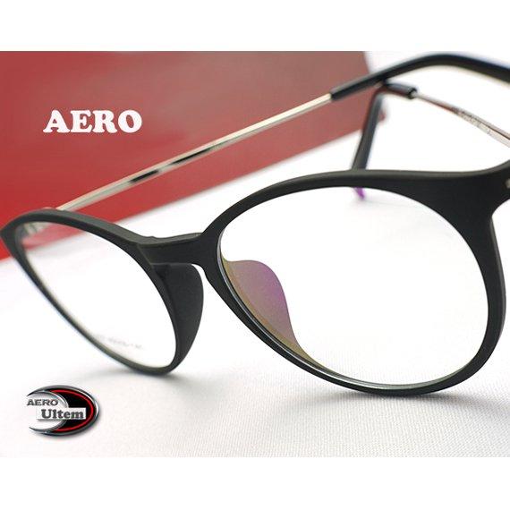 【メガネ通販】エアロウルテム AERO eyewear 丸めがね Black×Silver 注目の新素材ULTEM 超タフ・超軽量《今だけ送料無…