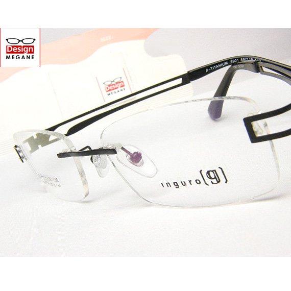 【メガネ通販】Inguro Eyewear Black ふちなし ツーポイント チタン素材 【重さ14gの軽量設計】 送料無料