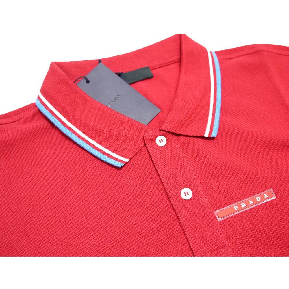2c0d4c3a44ad プラダ メンズ 定番 鹿の子 半袖ポロシャツ 赤 #XL #XXL PRADA ...