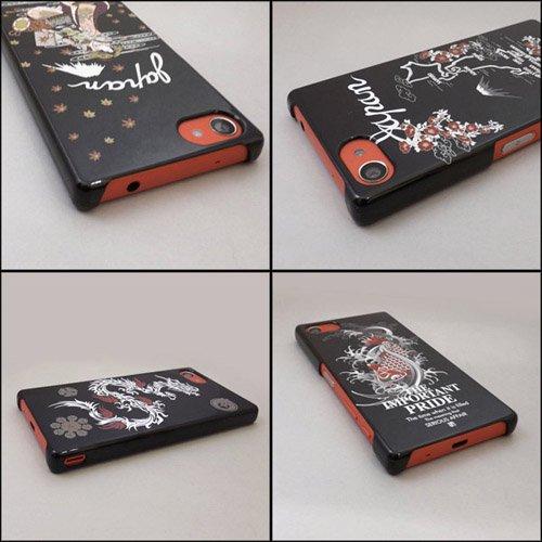 XPERIA Z5 Compact SO-02H ケースカバー 黒地 和柄 スマートフォンケース
