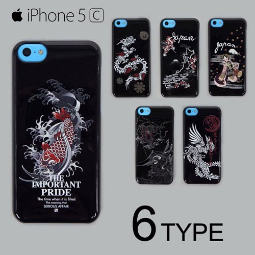 iPhone5c ケース カバー 黒地 和柄 アイフォーンケース