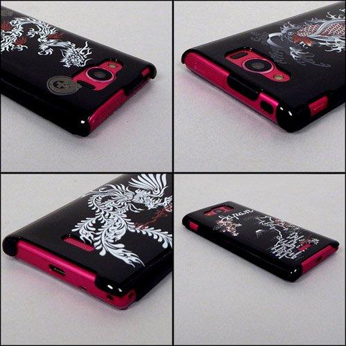 AQUOS PHONE SERIE mini SHL24 ケースカバー 黒地和柄 スマートフォンケース au