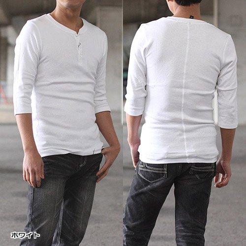Tongs フライスヘンリーネック七分袖Tシャツ