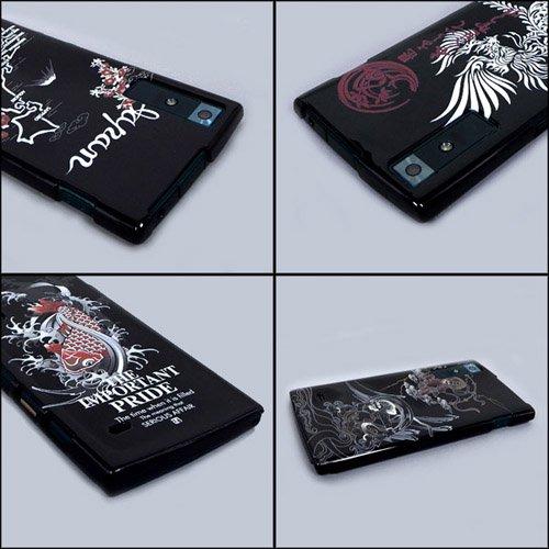 URBANO V02 ケースカバー 黒地 和柄 スマートフォンケース