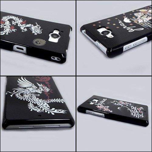 AQUOS SERIE SHV32 ケースカバー 黒地 和柄 スマートフォンケース