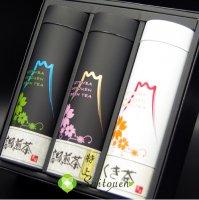 【I-1】斉藤園オリジナル 高級煎茶特上150g 高級煎茶150g くき茶150g缶入詰め合わせ