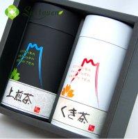 【B-5】斉藤園オリジナル上煎茶1本/くき茶1本缶入詰め合わせ