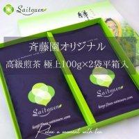 【F-1】 斉藤園オリジナル 高級煎茶 極上2本(100g×2本)平箱入