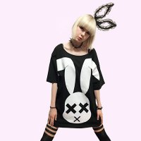 【FAR STAR】BIG フィッシュテイルTシャツ(XXX RABBIT DERA BIG T/BLACK)