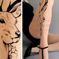 【TATTOO SOX】DEER TATTOO TIGHTS(LIGHT MOCHA)//TR