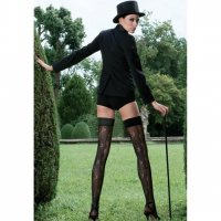 【TRASPARENZE】GILLIAN POLKA DOT HOLD UPS WITH LACE BACK PANEL//TR