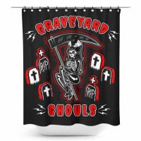 5B1/2【SOURPUSS】GRAVEYARD GHOULS SHOWER CURTAIN