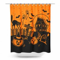 5B1/2【SOURPUSS】HAUNTED HOUSE SHOWER CURTAIN