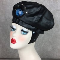【MALICIOUS.X】EYE PANEL LEATHER BERET-CAT/BLUE