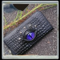 【MALICIOUS.X】EYE WALLET LONG/REPTILES VIOLET(CROCODILE)