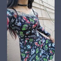 5B1/2【SOURPUSS】GHASTLY GHOULS OFF THE SHOULDER DRESS