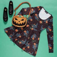<img class='new_mark_img1' src='https://img.shop-pro.jp/img/new/icons20.gif' style='border:none;display:inline;margin:0px;padding:0px;width:auto;' />【SOURPUSS】FELINE SPOOKY SKATER DRESS