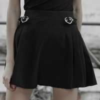 【PUNK RAVE】OPQ-518:PLEATED MINIMALIST SKIRT(XS-4XL)