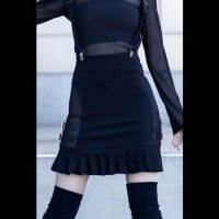 <img class='new_mark_img1' src='//img.shop-pro.jp/img/new/icons3.gif' style='border:none;display:inline;margin:0px;padding:0px;width:auto;' />【KILL STAR】SYNTH SUSPENDER SKIRT(XS-XXL)