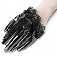 3B1F【PUNK RAVE】WS-384:PVC PVC HALF PALM GLOVES - RUFFLED LACE