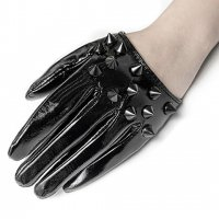 3B1F【PUNK RAVE】WS-387:PVC HALF PALM GLOVES - BLACK STUDDED