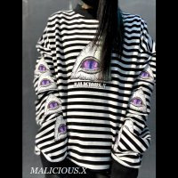 【MALICIOUS.X】[9EYES]VERY LONG SLEEVE T-SHIRT / STRIPE