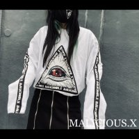 【MALICIOUS.X】TRIANGLE AND LOGOLINE LONG SLEEVE T-SHIRT / WHITE