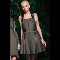 <img class='new_mark_img1' src='https://img.shop-pro.jp/img/new/icons20.gif' style='border:none;display:inline;margin:0px;padding:0px;width:auto;' />【KILL STAR】PSY-OPS HALTER DRESS [KHAKI]