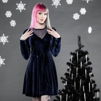 【SOURPUSS】MESH V NECK DRESS BLUE VELVET