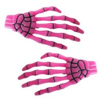 TIMESALE!!【KREEPSVILLE666】SKELETON BONE HANDS HAIRSLIDES PINK