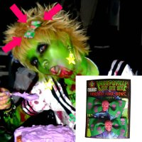 【KREEPSVILLE666】HAIR BOW PAIR GREEN SKULL