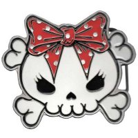 ★【KREEPSVILLE666】SKULLY BOW RED BELT BUCKLE
