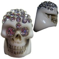 ★【KREEPSVILLE666】WHITE DIAMONTE SKULL COLLECTION RING