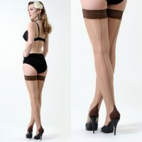 【WHAT KATIE DID/即納】15 DENIER CONTRAST SEAMED HOLD UPS