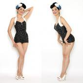 【LOLITA GIRL】BLACK AND WHITE POLKA DOT BOMBSHELL