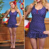 【LOLITA GIRL】NAVY AND WHITE POLKA DOT NAUTICAL DELIGHT SWIMSUIT