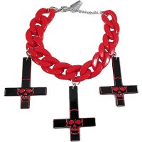 <img class='new_mark_img1' src='//img.shop-pro.jp/img/new/icons20.gif' style='border:none;display:inline;margin:0px;padding:0px;width:auto;' />【KREEPSVILLE666】INVERTED CROSS SKULL BRACELET RED