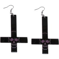 <img class='new_mark_img1' src='//img.shop-pro.jp/img/new/icons20.gif' style='border:none;display:inline;margin:0px;padding:0px;width:auto;' />【KREEPSVILLE666】INVERTED CROSS SKULL EARRINGS PURPLE