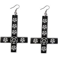 【KREEPSVILLE666】INVERTED CROSS PENTAGRAM EARRINGS BLACK