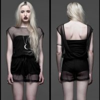 <img class='new_mark_img1' src='https://img.shop-pro.jp/img/new/icons20.gif' style='border:none;display:inline;margin:0px;padding:0px;width:auto;' />【WIDOW】NIGHT FALLS MESH ROMPER(SIZE:L)